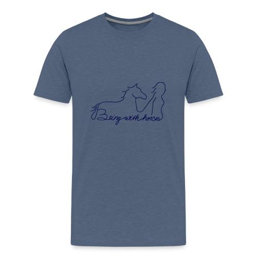 Being With Horses -Schriftzug, Teen Shirt ( Print Digital Navy) - Teenager Premium T-Shirt