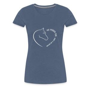 Coeur, Back: personalisierbar  Woman Shirt B( Print Digital White) - Frauen Premium T-Shirt