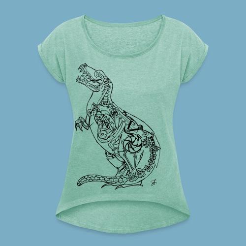 Dinosaur shirt woman - Frauen T-Shirt mit gerollten Ärmeln