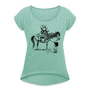 Thelwell Cowboy with his Pony - Women's T-shirt with rolled up sleeves