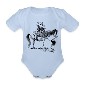 Thelwell Cowboy with his Pony - Organic Short-sleeved Baby Bodysuit