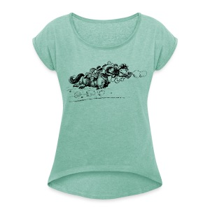 Thelwell Western Pony run away - Women's T-shirt with rolled up sleeves