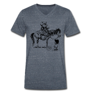 T-Shirts ~ Men's V-Neck T-Shirt ~ Thelwell Cowboy with his Pony