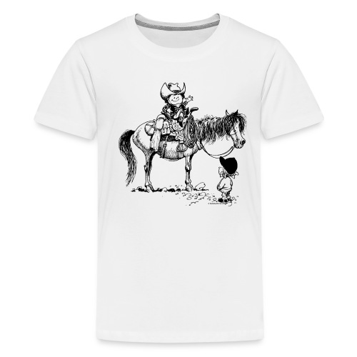 Thelwell Cowboy with his Pony - Teenage Premium T-Shirt