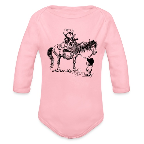 Thelwell Cowboy with his Pony - Organic Longsleeve Baby Bodysuit