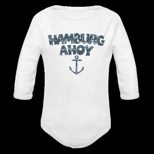 Hamburg Ahoy Anker (Vintage Blau) Babybody - Baby Bio-Langarm-Body
