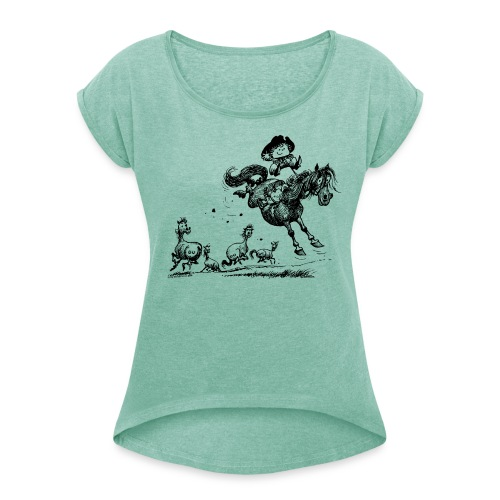 Thelwell Western Rodeo - Women's T-Shirt with rolled up sleeves