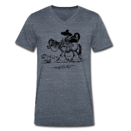 T-Shirts ~ Men's V-Neck T-Shirt ~ Thelwell Cowboy with a skunk
