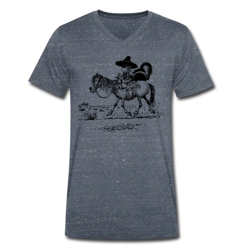 Thelwell Cowboy with a skunk - Men's Organic V-Neck T-Shirt by Stanley & Stella