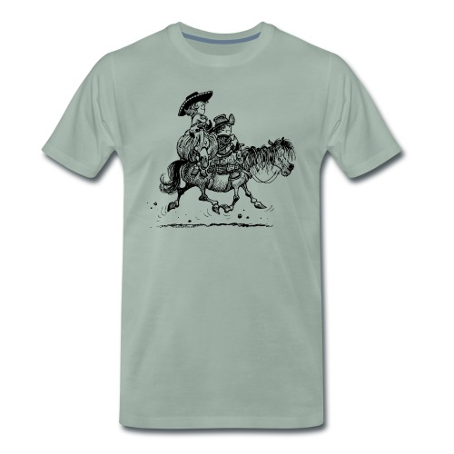 Thelwell Two cowboys with Ponies - Männer Premium T-Shirt