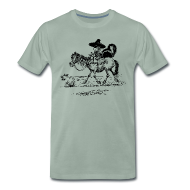 T-Shirts ~ Men's Premium T-Shirt ~ Thelwell Cowboy with a skunk