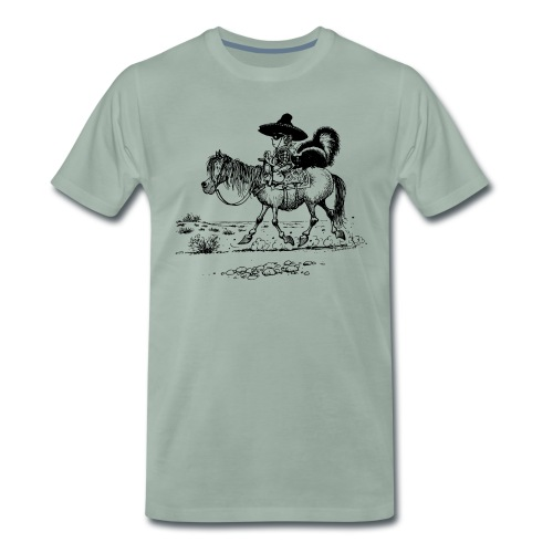 Thelwell Cowboy with a skunk - Männer Premium T-Shirt