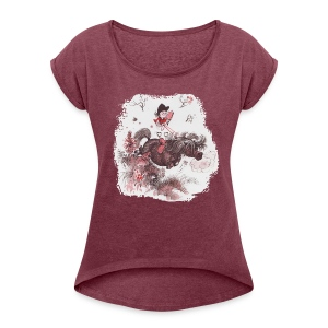 Thelwell Pony outside in the nature - Women's T-shirt with rolled up sleeves