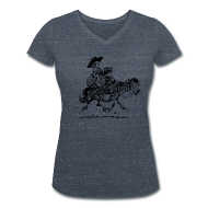 T-Shirts ~ Women's V-Neck T-Shirt ~ Thelwell Two cowboys with Ponies