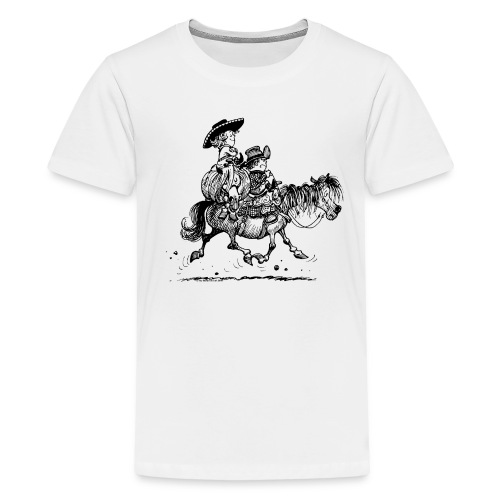 Thelwell Two cowboys with Ponies - Teenage Premium T-Shirt