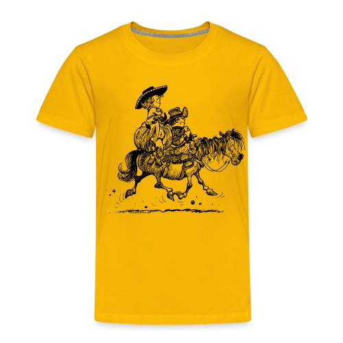 Thelwell Two cowboys with Ponies - Kids' Premium T-Shirt
