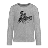 Long Sleeve Shirts ~ Teenagers' Premium Longsleeve Shirt ~ Thelwell Two cowboys with Ponies