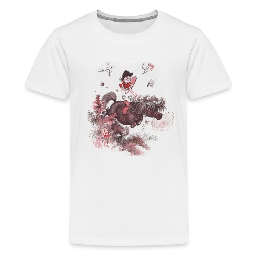Thelwell Pony outside in the nature - Teenage Premium T-Shirt