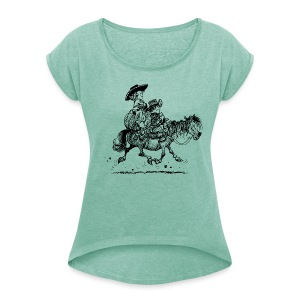 Thelwell Two cowboys with Ponies - Women's T-shirt with rolled up sleeves