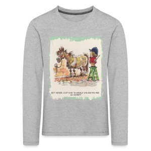 Thelwell Pony with hairdresser - Kids' Premium Longsleeve Shirt