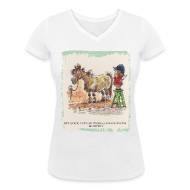 T-Shirts ~ Women's V-Neck T-Shirt ~ Thelwell Pony with hairdresser