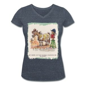 Thelwell Pony with hairdresser - Women's Organic V-Neck T-Shirt by Stanley & Stella