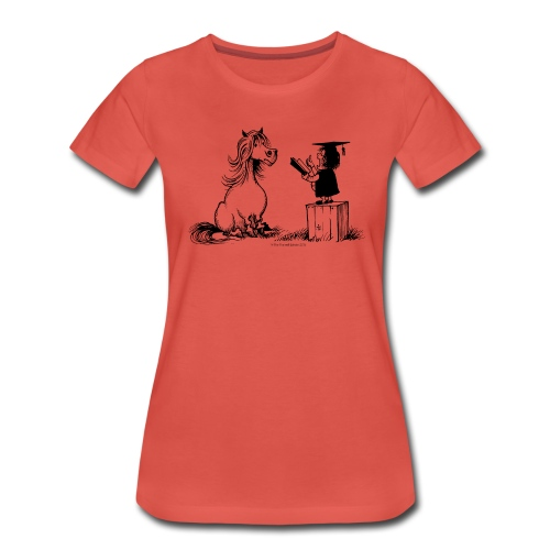 Thelwell Pony learning at school - Women's Premium T-Shirt