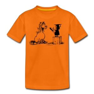 Thelwell Pony learning at school - Teenage Premium T-Shirt