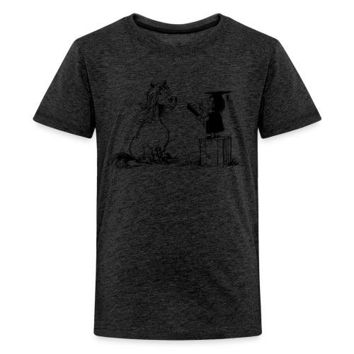 Thelwell Pony learning at school - Teenager Premium T-Shirt
