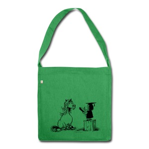 Thelwell Pony learning at school - Schultertasche aus Recycling-Material