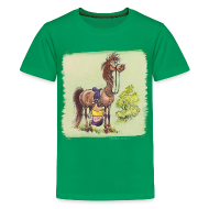 T-Shirts ~ Teenager Premium T-Shirt ~ Thelwell Pony Rider is headlong