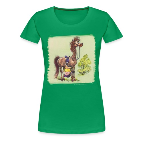 Thelwell Pony Rider is headlong - Frauen Premium T-Shirt