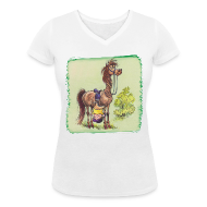 T-Shirts ~ Women's V-Neck T-Shirt ~ Thelwell Pony Rider is headlong