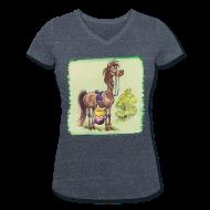 T-Shirts ~ Women's V-Neck T-Shirt ~ Thelwell Pony Rider is headlong