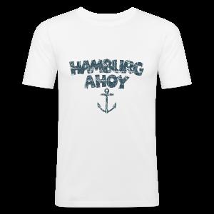 Hamburg Ahoy Anker (Vintage Blau) Slim Fit T-Shirt - Männer Slim Fit T-Shirt