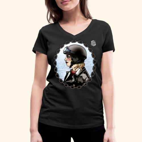 Biker Woman cuello pico - Camiseta ecológica mujer con cuello de pico de Stanley & Stella
