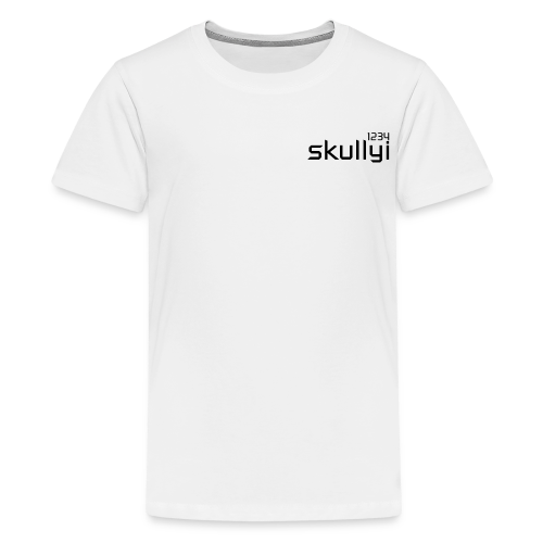 Kid's skullyi1234 Branded T-Shirt (White and Black) - Teenage Premium T-Shirt