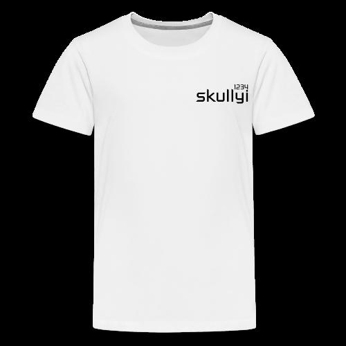 Kid's skullyi1234 Branded T-Shirt (White and Black) - Teenage Premium T-Shirt