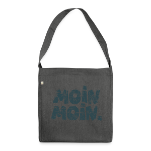 Moin Moin. (Vintage Blau) Recyclingtasche - Schultertasche aus Recycling-Material