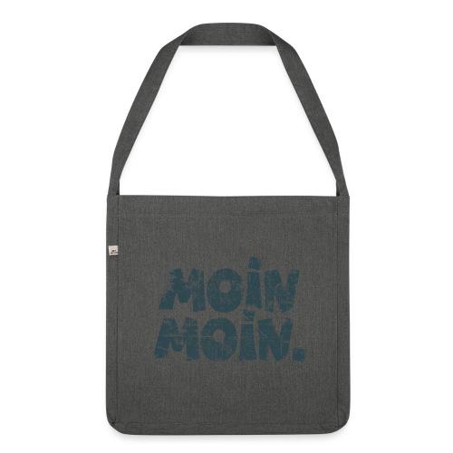 Moin Moin. (Vintage Blau) Recyclingtasche - Schultertasche aus Recycling-Material