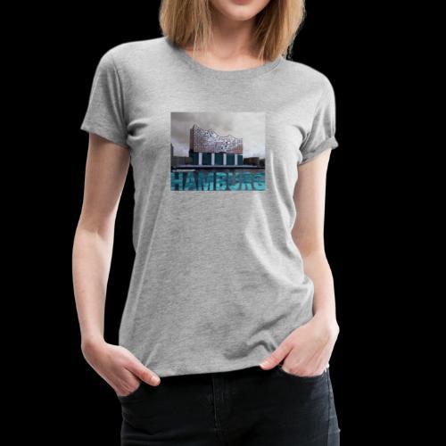 Elbphilharmonie mit Hamburg-Schriftzug, Frauen-Shirt - Frauen Premium T-Shirt