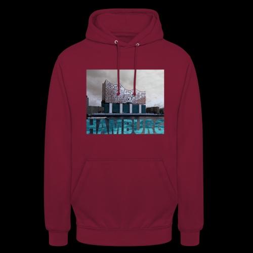 Elbphilharmonie mit Hamburg-Schriftzug - Unisex Hoodie