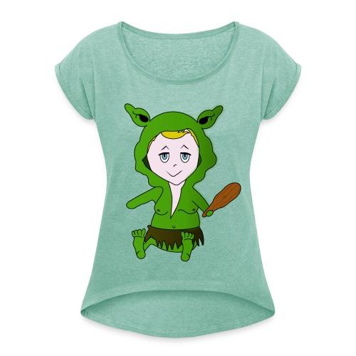 Trolls für Frauen - Frauen T-Shirt mit gerollten Ärmeln