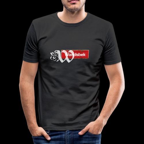 Männer T-Shirt: Wandsbek   Ortsschild   Initial im Tattoo-Look  - Männer Slim Fit T-Shirt