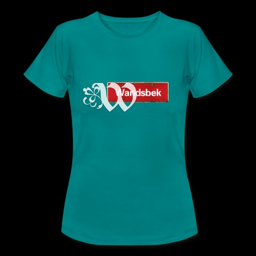 Frauen T-Shirt: Wandsbek   Ortsschild   Initial im Tattoo-Look  - Frauen T-Shirt