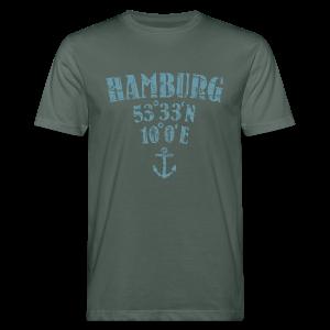 Hamburg Koordinaten Anker (Vintage Hellblau) Bio T-Shirt - Männer Bio-T-Shirt