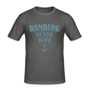 Hamburg Koordinaten Anker (Vintage Hellblau) Slim Fit T-Shirt - Männer Slim Fit T-Shirt