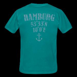 Hamburg Koordinaten Anker (Vintage Hellblau) T-Shirt - Männer T-Shirt