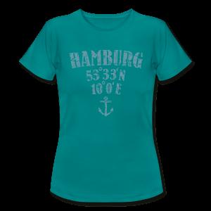 Hamburg Koordinaten Anker (Vintage Hellblau) T-Shirt - Frauen T-Shirt
