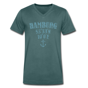 Hamburg Koordinaten Anker (Vintage Hellblau) V-Neck T-Shirt - Männer Bio-T-Shirt mit V-Ausschnitt von Stanley & Stella